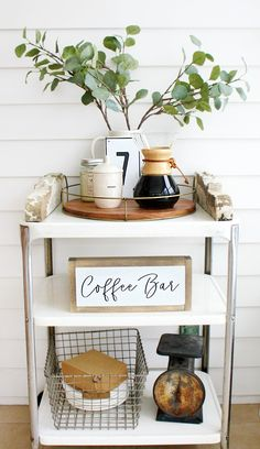 Coffee Bar Cart - Why did I wait so long What cute idea! A coffee bar cart to free up space on the counters! This coffee bar cart has all the coffee essentials and is adorably decorated in a farmhouse style.The Essentials The Essentials may refer to: Coffee Bars In Kitchen, Coffee Bar Home, Home Coffee Stations, Coffee Corner, Kitchen Cart, Kitchen Decor, Coffee Shop, Coffee Maker, Coffee In Bed