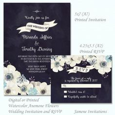 Midnight blue watercolor anemone floral wedding invitation and RSVP