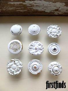 9 Misfit Knob Set Shabby Chic White Vintage Furniture Drawer Pulls Kitchen Cabinet Knobs Cupboard Hardware. 45.00, via Etsy.