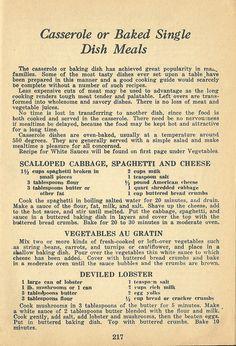 VINTAGE RECIPES: 1940 CASSEROLES by:Antique Alter Ego