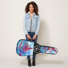 Boho Whimsical Blue Colorful Abstract Name BHK Art Guitar Case!