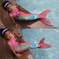 57.20$  Buy now - http://ali555.worldwells.pw/go.php?t=32744936145 - Myle Factory unique design Direct Sale Lycra Full Scale Swimmable Mermaid Tail W Monofin Dress Costume for Girls Kids Children 57.20$