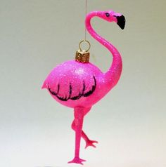 fairy dust lustred pink flamingo glass christmas tree bauble