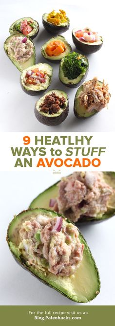 Love avocados? You'll love stuffed avocados even more. This roundup will give you 9 different recipes and ways to fill your avocados with even more nutritious food! For the full recipe, visit us here: http://paleo.co/stuffedavo