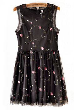 Black Sleeveless Vine Embroidery Lace Dress