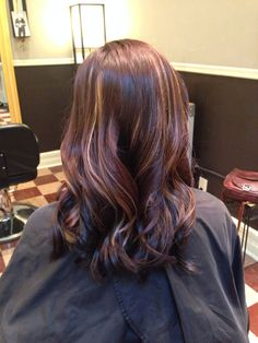 Rich chocolate brown with blonde peekaboo highlights.