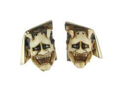 Florenza Devil Cufflinks/ Florenza Noh Mask Shiro by BajanLizard