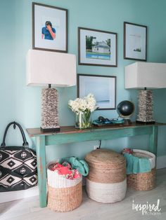 USE PART OF A TABLE ATTACHED TO A WALL TO MAKE A SKINNY ENTRY TABLE OR CONSOLE