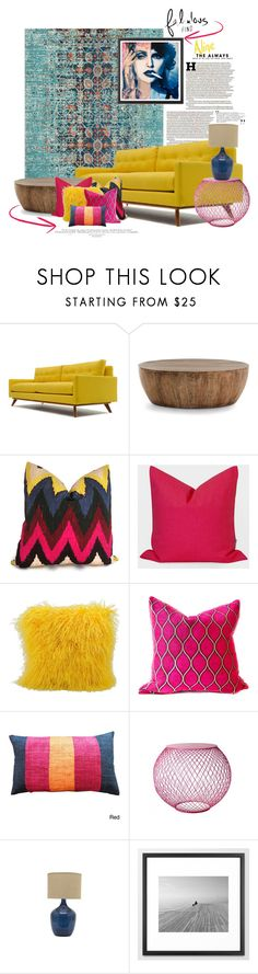 Color Challenge: Pink and Yellow by dawn-scott on Polyvore featuring interior, interiors, interior design, home, home decor, interior decorating, Thrive, Arteriors, Sounds Like Home and Jayson Home