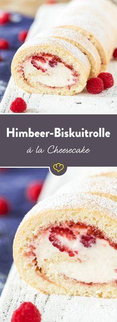Wenn sich deutsche Backkultur und amerikanische Kuchenkunst vereinen, darfst du dich über eine klassische Biskuitrolle mit cremiger Cheesecake-Füllung freuen. Sahne trifft Frischkäse trifft Himbeeren – mhhhhh!