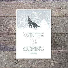 Game of Thrones - Winter Is Coming - typographic print poster. £8.50 @Etsy