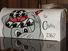 Alabama Crimson Tide mail box, Roll Tide mail box, hand painted mail box, custom painted, Housndstooth, Mail box,Standard size mailbox