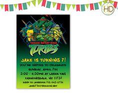 Teenage Mutant Ninja Turtles Invitation TMNT by HDInvitations Ninja Turtle Invitations, Superhero Invitations, Party Invitations, Superhero Party, Teenage Mutant Ninja Turtles, Tmnt, Spiderman, Avengers, Party Ideas