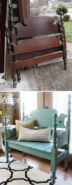 Woodworking For Beginners Furniture Old Headboard Repurposed Into A Bench.Woodworking For Beginners Furniture Old Headboard Repurposed Into A Bench. Refurbished Furniture, Repurposed Furniture, Furniture Makeover, Painted Furniture, Refurbished Headboard, Painting Old Furniture, Chair Makeover, Distressed Furniture, Diy Painting