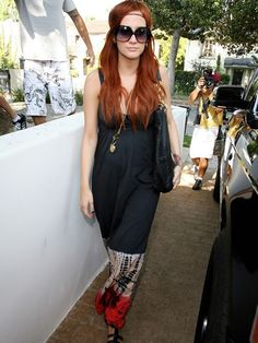 Ashlee Simpson Out And About In Los Angeles July 03 2008, black maxi dress, hippie headband
