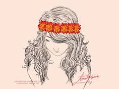 Dark girl with orange flowers in hair
