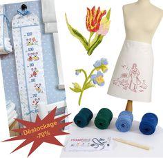 Profitez d'une remise immédiate de 70% sur une sélection de produits de la gamme DMC :  mini kit floral , toise, vis à vis, tablier, surnappe, bijou dans la limite des stocks disponibles
