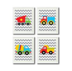 Construction Site Art Print Set of Four 8x10-Chevron, Trucks - Nursery, Kids Room, Playroom-Blue, Yellow, Green, Red, Grey OR Choose Color