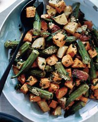 Roasted Sweet Potato and Okra Salad - Marcus Samuelsson on Food & Wine  PS: was looking for a butter subs recipe and found this super article on pumpkin seeds and its huge benefits:  http://articles.mercola.com/sites/articles/archive/2013/09/30/pumpkin-seed-benefits.aspx