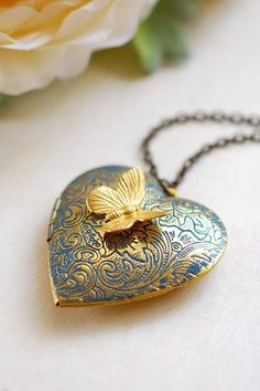 Large Gold Brass Heart Locket Necklace with Butterfly