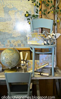 thonet chairs and maps, globes, trophy