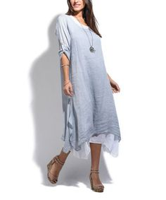 This Dusty Blue Roll-Tab Sleeve Linen Midi Dress - Plus Too is perfect! #zulilyfinds
