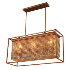 This stylish 3-Light Chandelier combines traditional materials with a rustic contemporary design. Lovely French Gold finish frame and faceted amber crystal string shade will give any room a warm sensu...