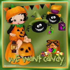 Click on image to see largest available. Happy Halloween - Betty Boop with pastel hair popping out of a pumpkin Source:Created by Hild...