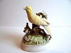 Vintage Gorham Porcelain Bisque Yellow Canary Music Box - Plays Lara's Theme by TimelessTreasuresbyM on Etsy