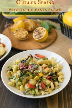 Grilled Spring vegetable pasta salad - Fresh veggies are grilled indoors or outdoors, then tossed with pasta and a tangy dressing. Guest post from @culinaryginger