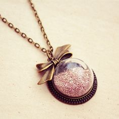 Pink Glitter Necklace with Antique Bronze Bow on Etsy, $29.00