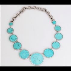 "Party Sale Michael Kors - Turquoise Necklace Authentic Beautiful  Michael Kors statement turquoise Necklace. Silver tone, 16""L with 2"" extension. Perfect summer necklace!!!!  Michael Kors Jewelry Necklaces"