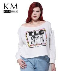 MissKoKo 2017 Plus Size Women Clothing Fashion Printed Basic T-shirt Slash  Neck Off the Shoulder Big Large Size Tops 4c1fcd25bda2