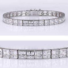 This classic cubic zirconia tennis bracelet features 0.55 carat each (5mm) princess cut in a 14k white gold channel setting. An approximate 18.70 total carat weight. This high quality cubic zirconia bracelet is 7 inches long, also available in different lengths via special order. Cubic zirconia weights refer to equivalent diamond carat size.