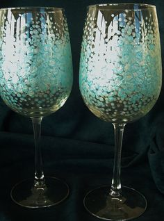 Oversized Artistic Hand Painted 18 ounce Wine Glasses
