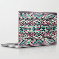 Pink Turquoise Girly Aztec Andes Tribal Pattern Laptop & iPad Skin by Railton Road | Society6 on Wanelo