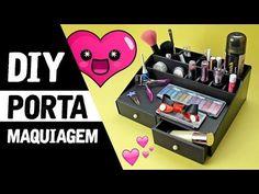 Organizador de Maquiagens  Do Lixo ao Luxo! | Projeto #NãoéCópia - YouTube Makeup Storage, Makeup Organization, Crafts To Do, Diy Crafts, Craft Sites, Recycled Crafts, Diy Makeup, Diy Videos, Store Design