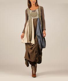 Another great find on #zulily! Khaki & Blue Layered Linen-Blend Sleeveless Dress #zulilyfinds