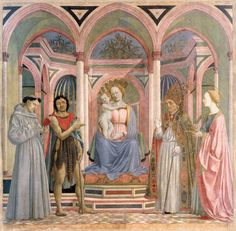 Domenico Veneziano, Retable de Santa Lucia dei Magnoli  ou Sacra Conversazione  Domenico Veneziano, c. 1445  Tempera sur bois, 209 x 216 cm  Galerie des Offices, Florence