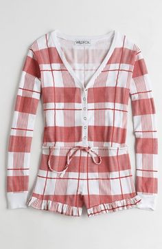 Free shipping and returns on Wildfox Pink Plaid Pajama Romper at Nordstrom.com. Get a sweet start to your morning in a supersoft and stretchy pajama romper styled with pretty pink plaid, cute ruffled hems and dangling drawstring ties.