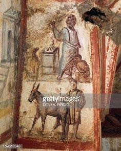 Stock Photo : Sacrifice of Isaac, fresco, Via Latina Catacomb, Rome, Italy, 4th century