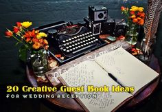 20 Creative Guest Book Ideas For Wedding Reception... Polaroid, Puzzle, Caricature, Fingerprint tree, Typewriter, Wishing Stones, Mad libs, Chalkboard photo booth, Wine bottle(s), Vinyl Record, Photo frame/mat, Guitar, Wine corks, Plate/platter, Wishing Tree, Quilt (squares), Jenga game, Postcards, Engagement Photo guest book, Round Slice of Wood.