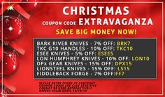 CHRISTMAS COUPON CODE EXTRAVAGANZA! Select from the following coupon codes to save money on your favourite knives. These special coupon codes are VALID UNTIL 12/10/14. Merry Christmas!    BARK RIVER KNIVES: BRK10,    TKC CUSTOM G10 HANDLES: TKC10,    ESEE KNIVES: ESEE5,    LON HUMPHREY FORGED KNIVES: LON10,    DPx GEAR KNIVES: DPX15,    LIONSTEEL KNIVES: LS15,    FIDDLEBACK FORGE (ANDY ROY): FF7