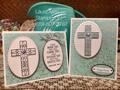 """We are making cards this happy Friday. I used the """"Hold on to Hope"""" Stamp set and the """"Cross of Hope"""" Framelits to make these cards. Confirmation Cards, Baptism Cards, Easter Religious, Christian Cards, Easter Cross, Church Crafts, Stamping Up Cards, Get Well Cards, Sympathy Cards"""
