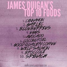 Top 10 foods from James Duigan's Clean & Lean Diet.