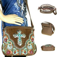 Turquoise Cross Embroidered Purse Western Paisley Spiritual Crossbody Bag Paisley Embroidery, Embroidery Designs, Cross Designs, Crocodile, Studs, Crossbody Bag, Turquoise, Shoulder Bag, Purses