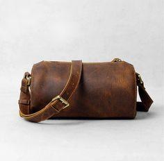 Mens Leather Bag, Mens Shoulder Bag, Small Leather Bag, Travel Bag, Brown, Everyday Carry, Messenger Bag