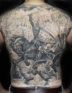 Back tattoo. Templar Knight.