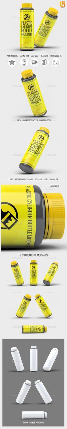 Plastic Cylinder Bottle Mock-Up