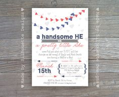 Valentine's Day Gender Reveal Invitation